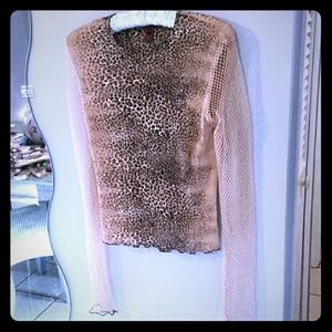 Sexy Shear Cheetah Top w/ Long Net Sleeve